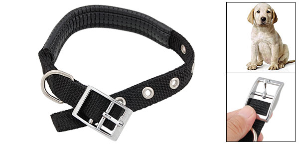 Black Leather Padded Adjustable Nylon Pet Dog Collar Medium