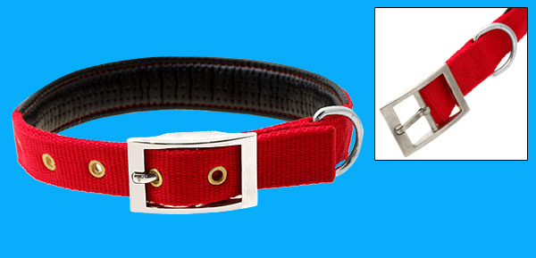 Adjustable Leather Padded Nylon Pet Dog Collar Medium