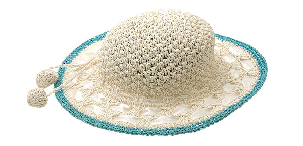 Girls Straw Braid Fashion Beach Sun Hat Cap Baby Blue Rim