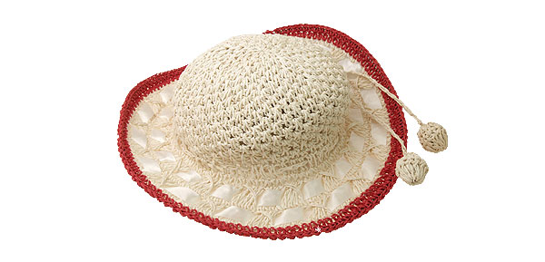 Fashion Straw Braid Girls Beach Sun Hat Cap with Red Rim
