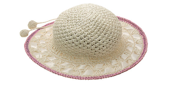 Straw Braid Girls Fashion Beach Sun Hat Cap Lilac Rim