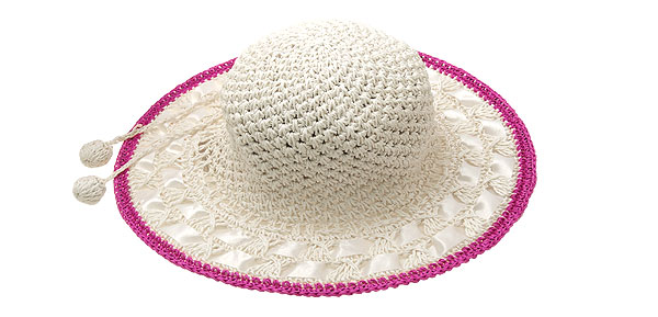 Straw Braid Girls Sun Hat Fashion Beach Cap Purple Pink Rim