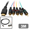 2.95M Golden Plated HDMI to 5 Wire RCA Component Cable 1080p