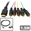 1.5M Golden Plated HDMI to 5 Wire RCA Component Cable 1080p