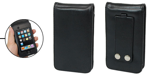 Flip Black Leather Case Pouch for iPod Touch II 2nd Generation