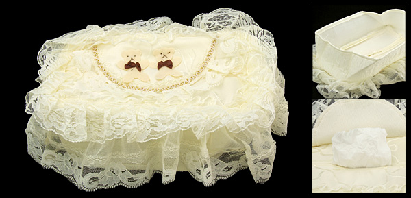 A Couple of Bears Rectangle Lace Tissue Box Holder Cover