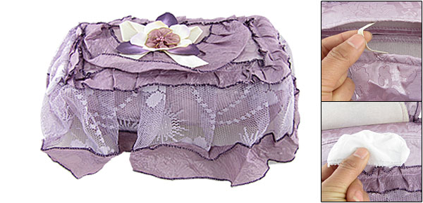 Purple Rectangle Lace Fabric Overlay Tissue Box Cover