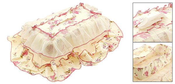 Voile and Fabric Overlay Rectangle Tissue Box Holder Cover