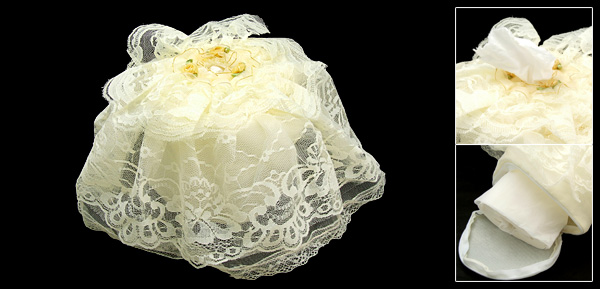 Round Lace Fabric Overlay Tissue Box Holder Cover