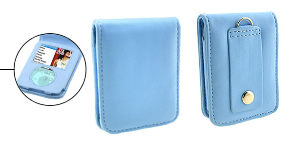 Flip Flap Blue Leather Case for iPod Nano 3G 3rd Generation