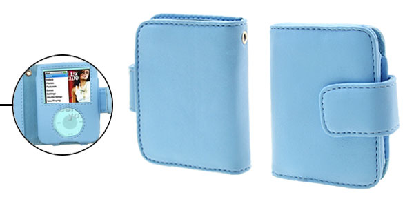 Blue Wallet Style Leather Protector Case for iPod Nano 3G