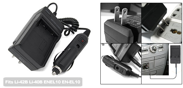Camera Battery Travel Car Charger for Olympus Li-42B Li-40B Nikon ENEL10 EN-EL10