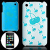 Cherry Pattern Hard Blue Back Plastic Ca...