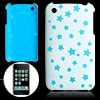 Blue Star Pattern Hard Back Plastic Case for iPhone 3G