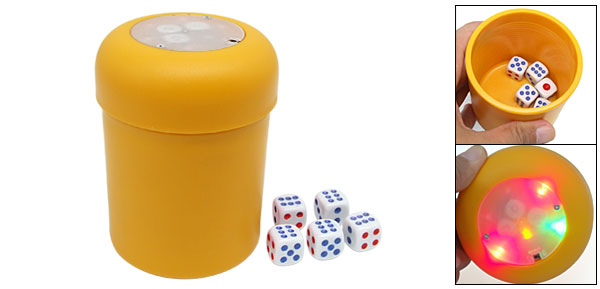 Flashing LED Dice Shot Cup Yahtzee Bunco Gambling Games w/ 5 Poker Dice Set In Box