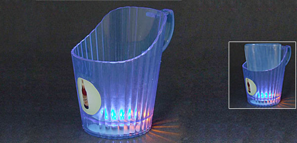 Blue Plastic Flashing Flash LED Beer Light-Ice Mug Cup Holder Batteries Powered