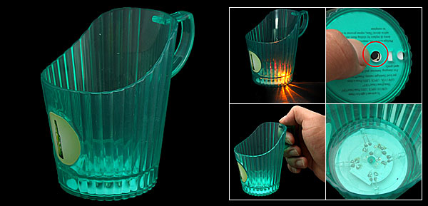 Green Plastic Flashing Flash LED Beer Light-Ice Mug Cup Holder Battery Powered