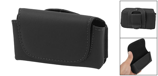 Black Leather Waist Case with Belt Clip for iPhone 3G