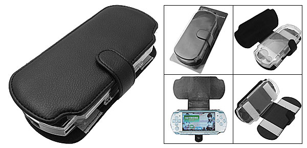 Black Leather Carrying Case Cover for Sony PSP Slim 2000
