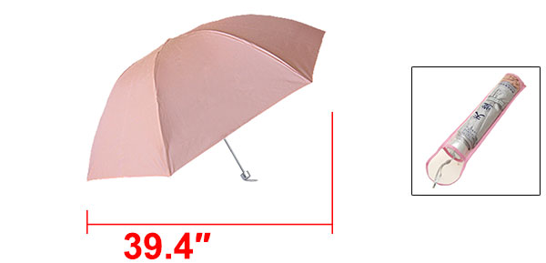 Canopy Silvery Metal Shaft Folding Rain Sun Umbrella