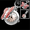 Mini Stylish Pink Dial Red Butterfly Pendant Key Chain Watch