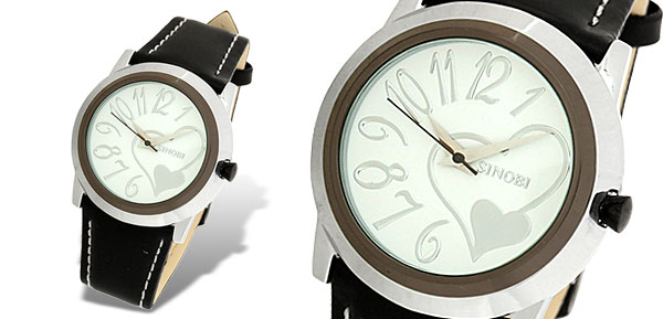 White Dial Heart Black Leather Strap Round Ladies' Watch