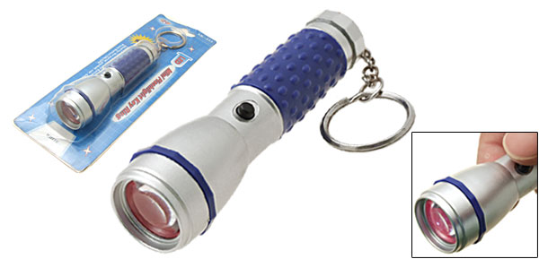 Portable Handy White LED Flashlight Key Ring Torch Blue