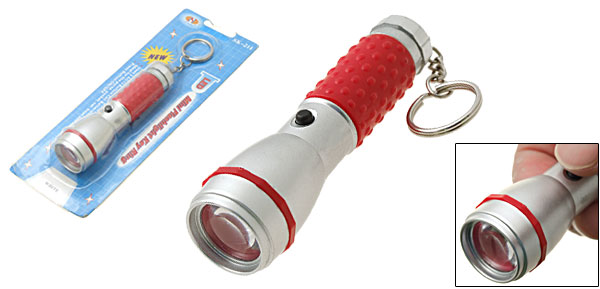 Pocket White LED Flashlight Key Ring Hand Torch Red