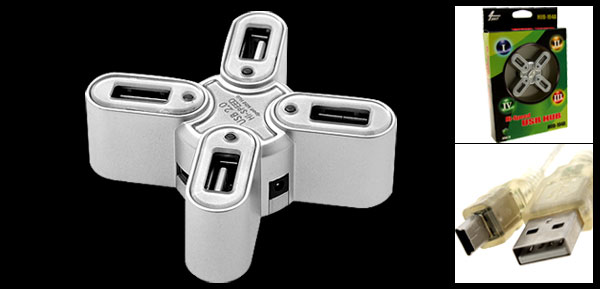Silvery 4 Port USB 2.0 Mini Hub for Computer PC Laptop