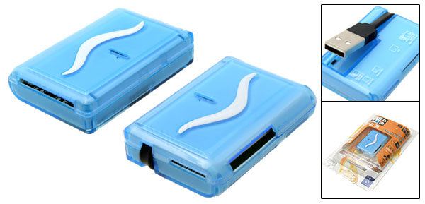 Sky Blue Mini All in 1 USB Memory Card Reader Writer