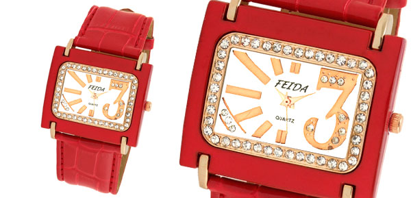 Crystal Ladies Red Fashion Wrist Watch with Leather Strap