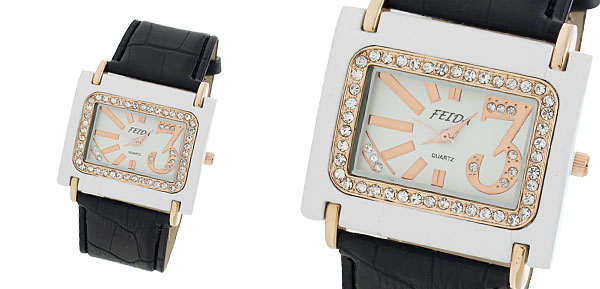 Rhinestone Black Leather Watchband Rectangle Ladies' Watch