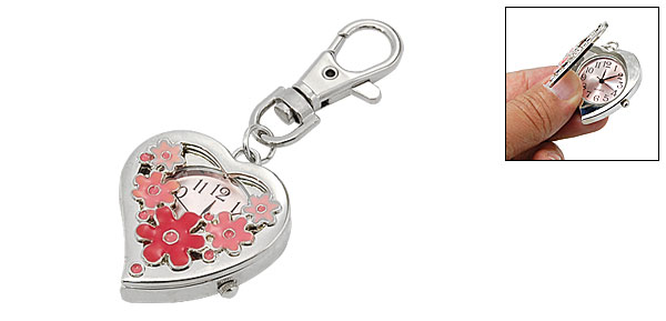 Mini Portable Flower Heart Key Chain Keychain Watch