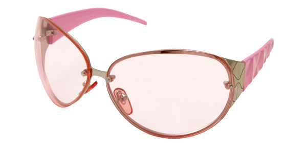 Pink Oval Lens Plastic Arms Ladies' Fashion Sunglasses