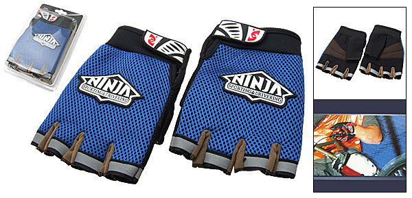 Men's Mountain Bike Driving Sports Fingerless Gloves Blue