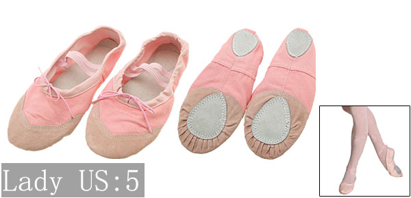 Ballet Dance Dancing Soft Sole Pink Shoes Size 5 for Girls