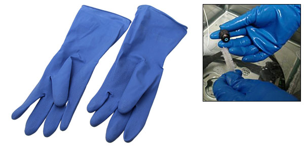 Large Chemical Household Long Latex Rubber Gloves Blue