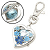 Mini Portable Heart Key Chain Keychain Clip Watch Blue Flower