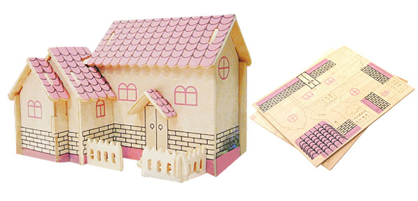 Purple House 3D Model Puzzle Toy Woodcraft Construction Kit