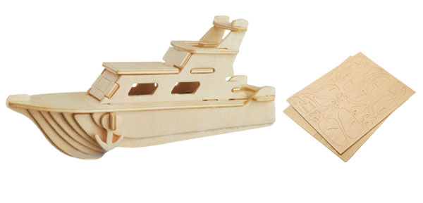 Yacht Woodcraft Construction Kit DIY 3D Model Puzzle Toy