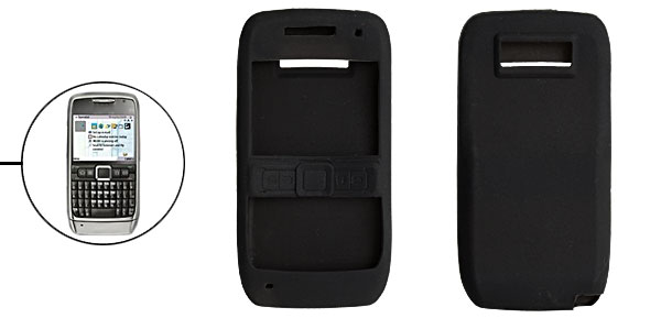 Black Silicone Skin Case Cover for Nokia E71