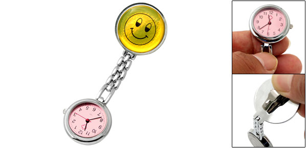 Modern Stylish Cute Smiley Face Silver Tone Nurse Doctor Watch w/Pink Dial