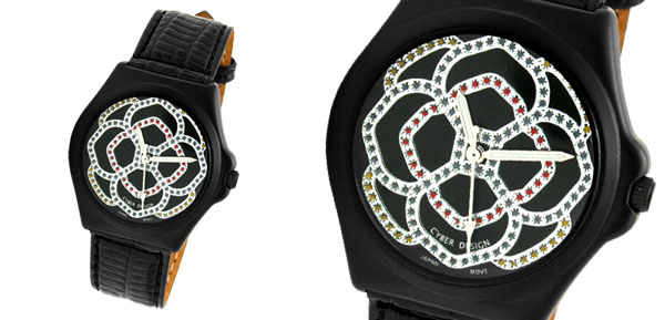 Black Round Charm Rhinestones Flower Dial Wrist Watch with Leather Strap