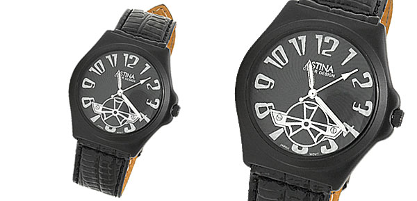 Cyber Design Round Charm Black Dial Leather Unisex Women Men Wrist Watch