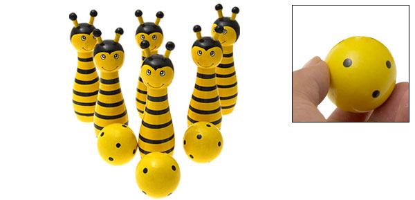 Mini Wooden Honey Bee Pins Kids Bowling Game Set Children Toy
