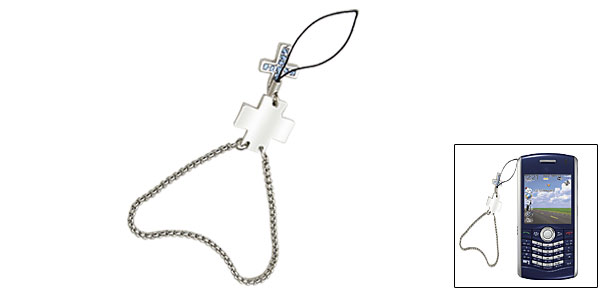 Blue Rhinestone Cross Phone Charm Wrist Chain Strap