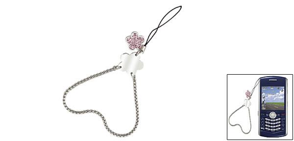 Flower Pink Rhinestone Cell Phone Charm Wrist Chain Strap