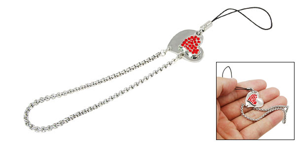 Heart Red Rhinestone Cell Phone Charm Wrist Chain Strap