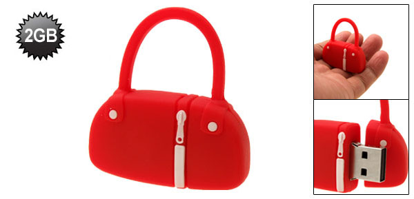 Red Rubber Hand Bag 2GB Flash Drive Stick