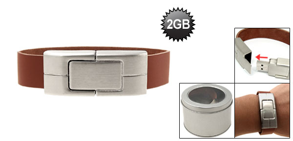 2GB Brown Leather Band USB Bracelet Flash Drive